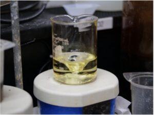 Oxidized VRFB electrolyte in US Vanadium laboratories in Hot Springs, Ark.